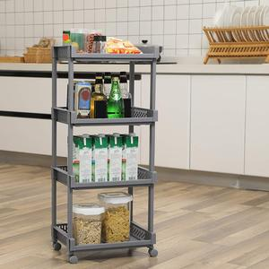 4 shelves Kitchen storage trolley cart with storage baskets and wheels