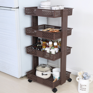 Brown plastic Kitchen orgnizer 4 shelves